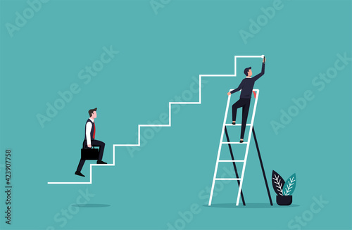 Businessman hand drawing lines for his partner to achieve goal. Business teamwork and organization concept vector illustration.