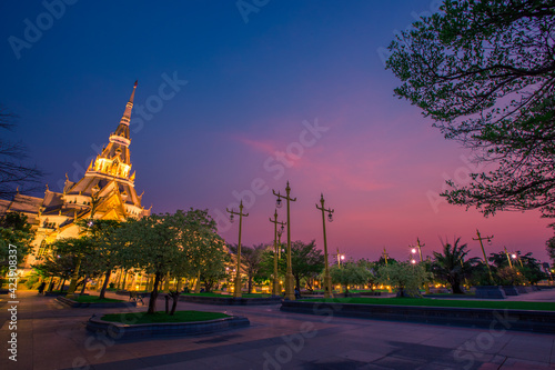 Background of one of the religious sites in Thailand (Wat Sothon Wararam Worawihan) in Chachoengsao, tourists always come to make merit.