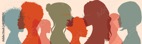 Businesswomen of diverse cultures social network community. Silhouette group of multiethnic women who talk and share ideas and information. Communication and friendship. Racial equality