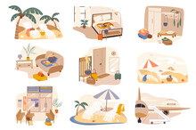 Rest In Hotel At Sea Resort Isolated Scenes Set. Flight By Plane, Booking Room, Staying In Apartment, Beach Of Seashore. Bundle Of Modern Interiors. Vector Illustration In Flat Cartoon For Web Design