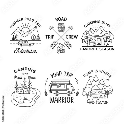 Camping line art logo designs set. Vintage adventure linear badges. Outdoor crest labels with mountains. Travel silhouette emblems isolated. Stock vector isolated
