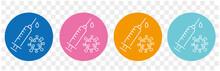 Medicine Vaccine Sign. Medical Syringe Icon. Set