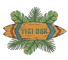 Design Of Trendy Hawaii Surf For Tiki Bar. Traditional Ethnic Surfing Of Hawaiian, Maori Or Polynesian. Old Tribal Board