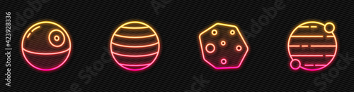 Set line Asteroid, Death star, Planet Venus and . Glowing neon icon. Vector