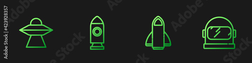 Fototapeta Set line Rocket ship, UFO flying spaceship, and Astronaut helmet