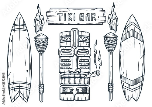 Canvas Print Set of trendy hawaii wooden tiki mask with joint for surfing bar