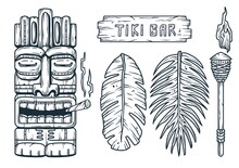 Set Of Trendy Hawaii Wooden Tiki Mask For Surfing Bar. Traditional Ethnic Idol Of Hawaiian, Maori Or Polynesian. Old Tribal Totem With Joint