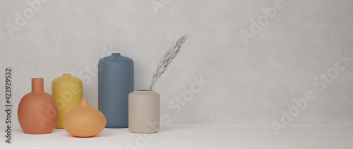 Cuadros en Lienzo 3D rendering, Home decor colourful ceramics vases and pot in white background wi