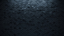 Futuristic, Dark 3D Background, With An Arabesque Block Structure. Wall Texture With A 3D Tile Pattern. 3D Render