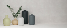 3D Rendering, Home Decor Ceramics Vases And Pot In Grey Background With Copy Space