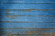Blue Paint Abstract Vintage Background, Wooden Old Peeling Surface