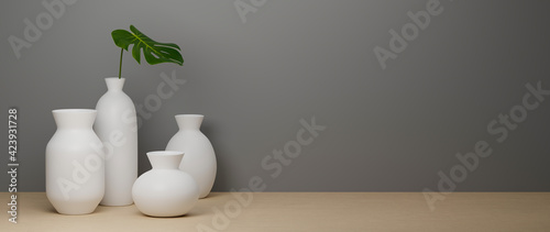 Fotografia 3D rendering, white ceramics vases and pot on white background  and wooden floor
