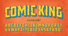 Comic King; A Classic Adventure Comics Logo Style Of Font. This Alphabet Conjures Up The Vibe Of Vintage Comic Book Titles From The Mid 20th Century.