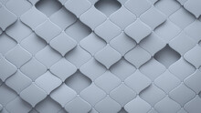Futuristic, Light 3D Background, With An Arabesque Block Structure. Wall Texture With A 3D Tile Pattern. 3D Render