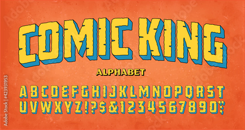 Canvas Comic King; a classic adventure comics logo style of font
