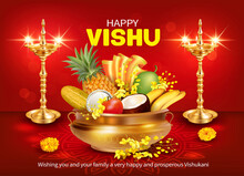 Greeting Card With Golden Diyas And Traditional Vessel Uruli With Fruits And Konna Flowers (cassia Fistula) For South Indian New Year Festival Vishu (Vishukani). Vector Illustration.
