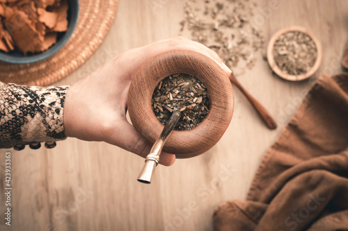 Fotografie, Obraz hand holding a Mate tea, friendly act offering mate tea, earth colors