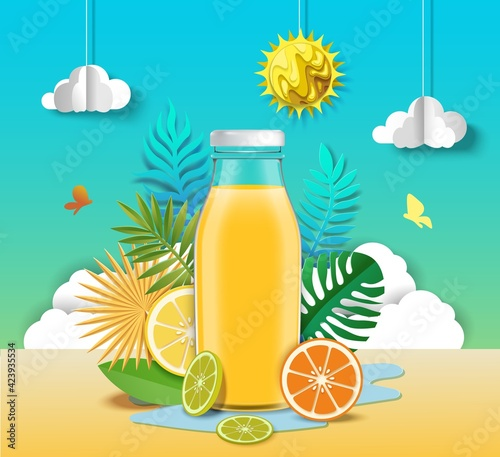 Obraz Citrus juice advertising poster design template. Healthy refreshing fruit beverage ads, vector paper cut illustration. - fototapety do salonu