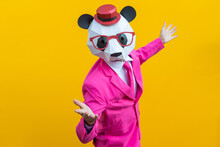 Man With Funny Low Poly Mask On Colored Background