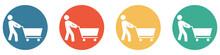 Bunter Banner Mit 4 Buttons: Person Mit Einkaufswagen Beim Shoppen