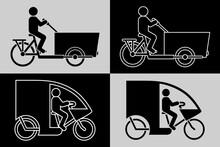 Pictogramme D'une Silhouette D'un Personnage Sur Un Vélo Cargo Et Sur Un Triporteur Décliné En 4 Images Noires Ou Blanches.