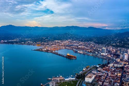 Canvas-taulu View of the city of Batumi, sea, mountains from a drone