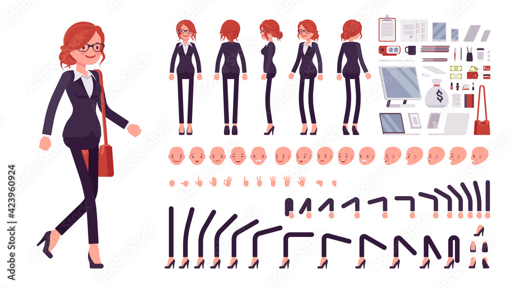 Fototapeta Businesswoman, red haired office worker construction set. Manager, administrative person, corporate employee dress code and objects. Cartoon flat style infographic illustration, different emotions