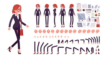 Businesswoman, red haired office worker construction set. Manager, administrative person, corporate employee dress code and objects. Cartoon flat style infographic illustration, different emotions