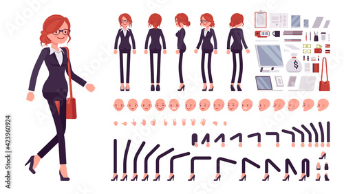 Canvas Print Businesswoman, red haired office worker construction set