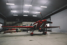 A Small Airfield With Airplanes. Aircraft Details. Hangar