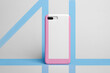 Smart phone in case linearly colored in blue and pink color