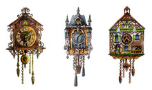 A Set Of Old German Cuckoo Clocks. A Collection Of Carved Retro Clocks Isolated On A White Background. Beautiful Watercolor Illustration For Books And Holiday Cards. For Design And Decoration
