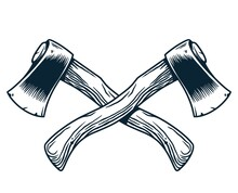 Sharp Axe Of Lumberjack And Axeman. Hatchet Or Ax For Woodworker And Logger. Chop Tool For Print Design