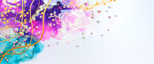 Art Photography Of Abstract Fluid Art Painting With Alcohol Ink Blue, Purple, Pink, Gold Colors And Crystal Rhinestones