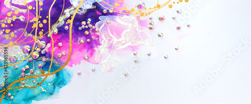 Fototapeta art photography of abstract fluid art painting with alcohol ink blue, purple, pink, gold colors and crystal rhinestones obraz