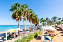 Protaras Embankment With Palm Trees, Cyprus