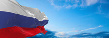 Large Flag Of Russian  Waving In The Wind On Flagpole Against The Sky With Clouds On Sunny Day. 3d Illustration