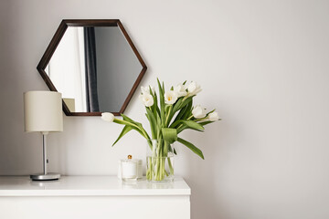 Minimalist scandinavian interior. Spring home decor