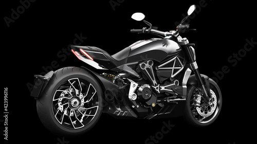 Canvas Dark black metallic chopper motorcycle