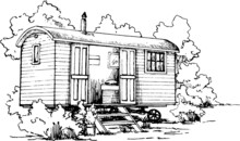Shepherds Hut Sketch Glamping Monochromatic Hand Drawn Illustration On White Background With A Tiny Chimney  And Trees