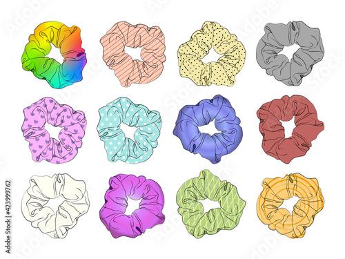Obraz Hair scrunchies set. Girls scrunchies for hears. Vector illustration EPS10 - fototapety do salonu