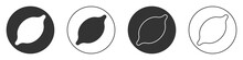 Black Lemon Icon Isolated On White Background. Circle Button. Vector