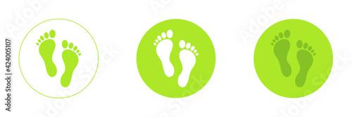 Green symbol footprints button icon design, vector illustration set Fototapet