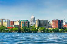 Madison, Wisconsin, USA Downtown Skyline On Lake Monona.