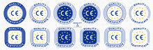 CE Marking Is A Mark For Products Informing About Compliance With The Essential Requirements Of Directives And Harmonized Standards Of The European Union. Vector Icon Quality Guarantee.