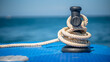 Leinwandbild Motiv Mooring Rope Tied On Dock Ship