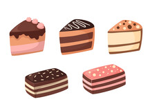 Set Of Cartoon Pieces Of Cake. Vector Illustration Of Sweets And Desserts. Isolated On A White Background. Collection Of Delicious Pastries With Different Flavors