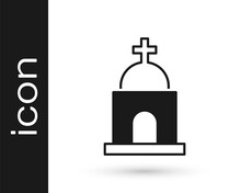Black Old Crypt Icon Isolated On White Background. Cemetery Symbol. Ossuary Or Crypt For Burial Of Deceased. Vector
