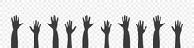 Raised Hands. Silhouettes Of Hands Up. Teamwork, Collaboration, Voting, Volunteering Concert. Vector Illustration