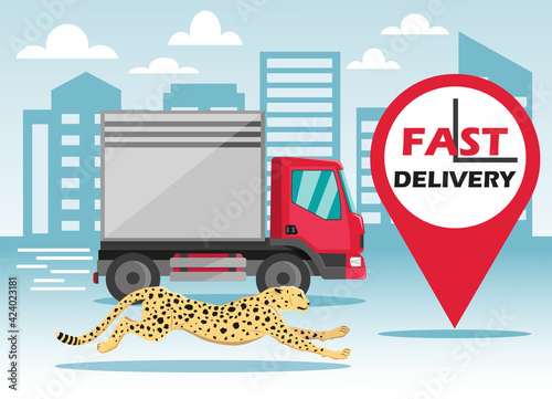 Fotografering Fast tracking delivery by truck